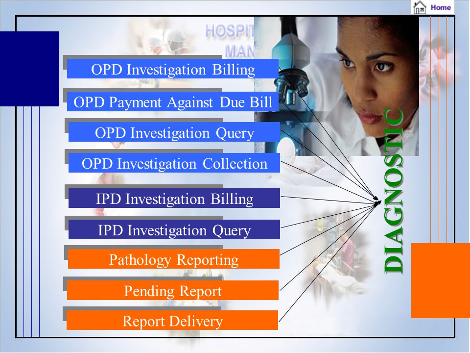 DIAGNOSTIC OPD Investigation Billing OPD Payment Against Due Bill