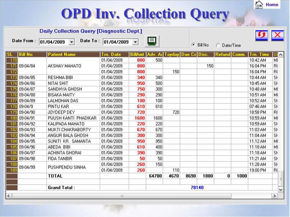 OPD Inv. Collection Query