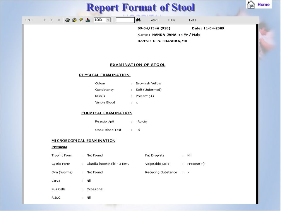 Report Format of Stool