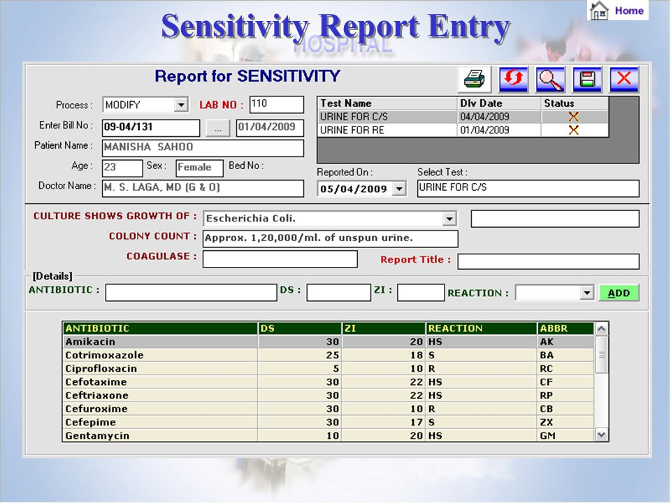 Sensitivity Report Entry