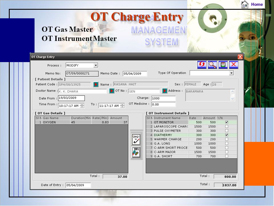 OT Charge Entry OT Gas Master OT Instrument Master