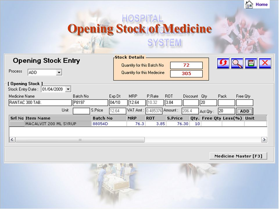 Opening Stock of Medicine