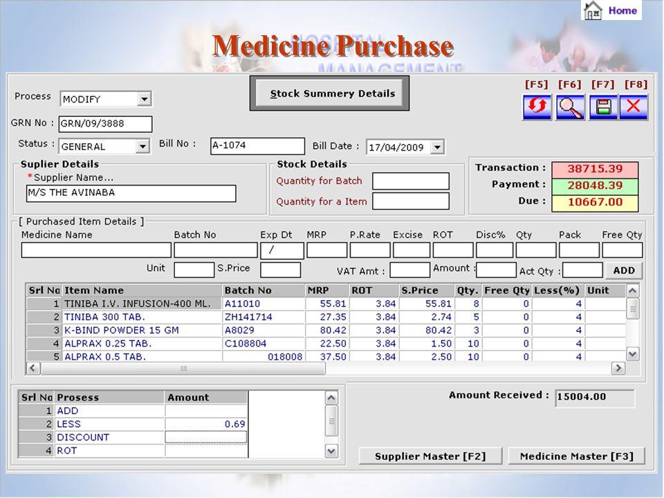 Medicine Purchase