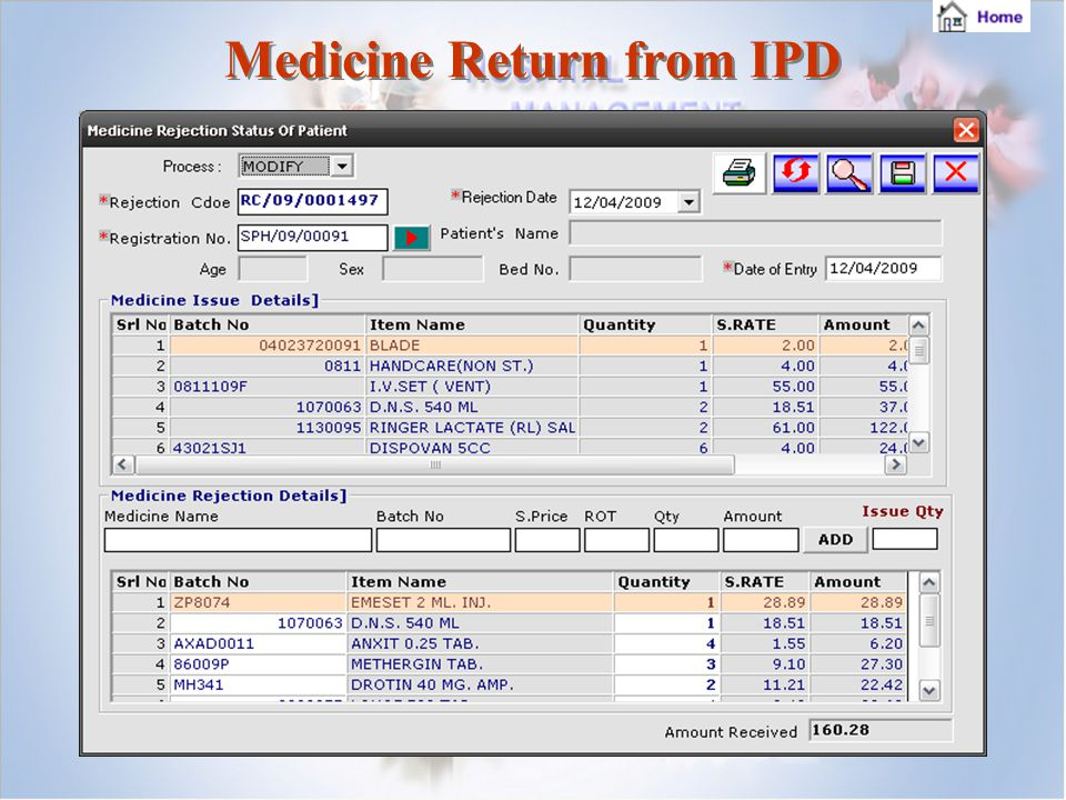 Medicine Return from IPD