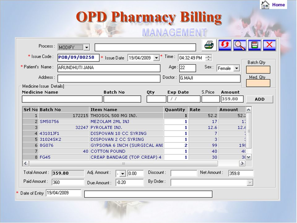 OPD Pharmacy Billing