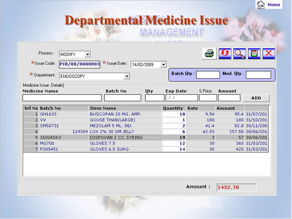 Departmental Medicine Issue