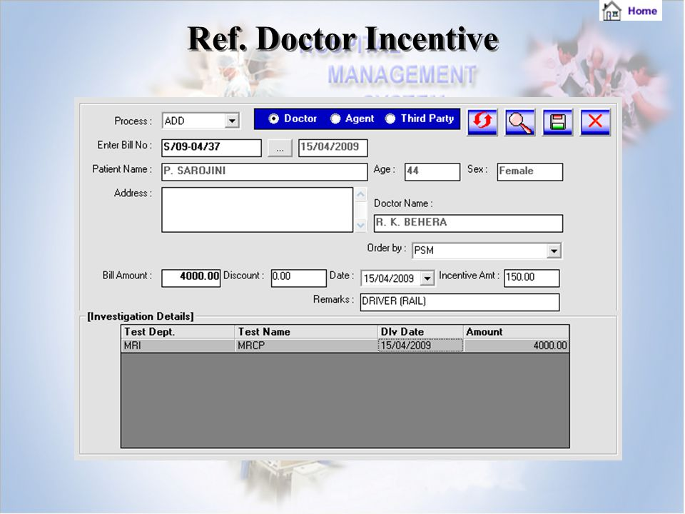 Ref. Doctor Incentive