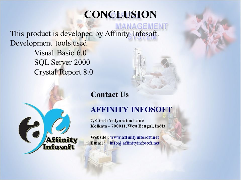 CONCLUSION This product is developed by Affinity Infosoft.