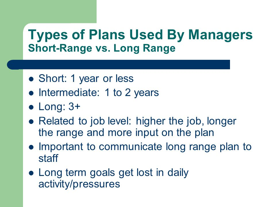 Types of Plans Used By Managers Short-Range vs. Long Range