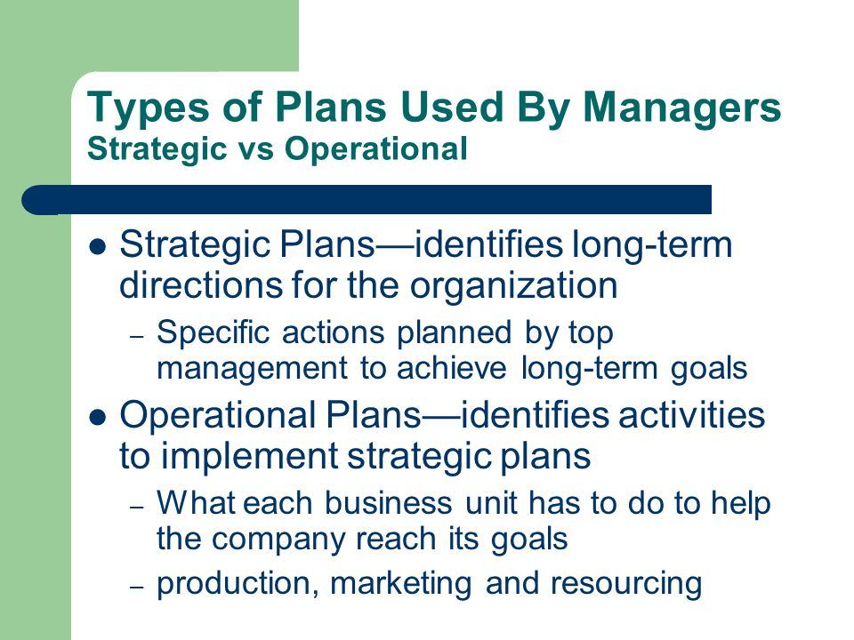 Types of Plans Used By Managers Strategic vs Operational