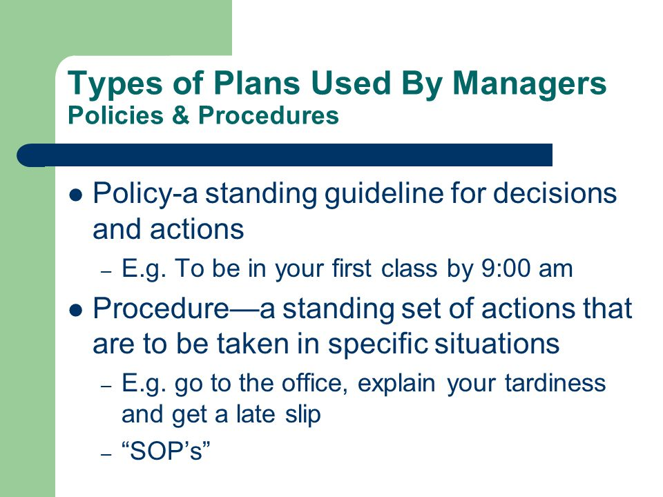 Types of Plans Used By Managers Policies & Procedures