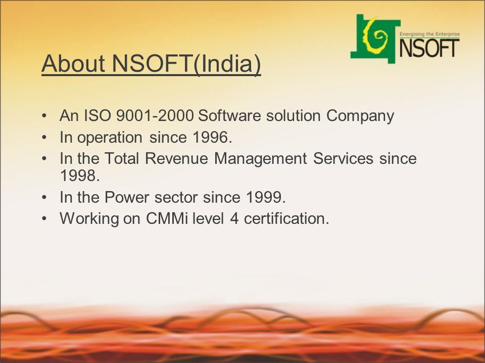 About NSOFT(India) An ISO 9001-2000 Software solution Company
