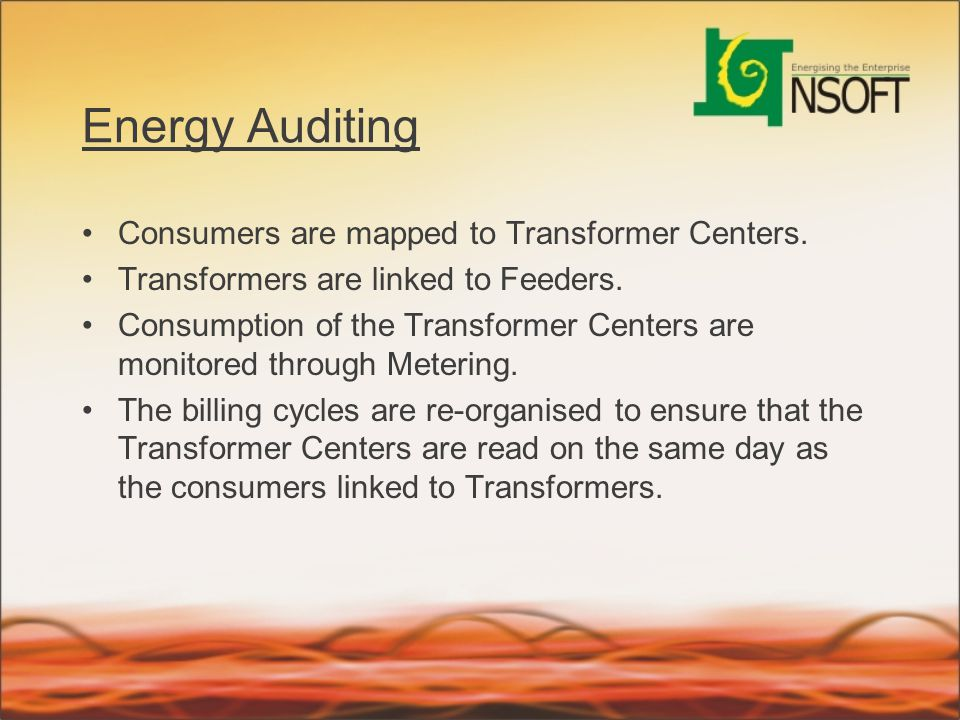 Energy Auditing Consumers are mapped to Transformer Centers.