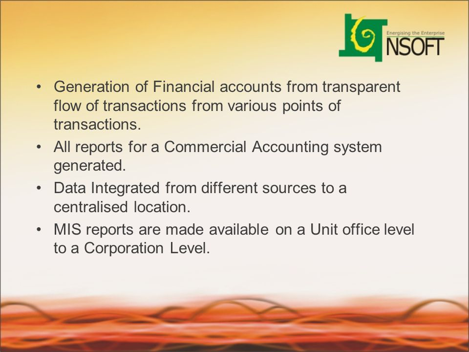 Generation of Financial accounts from transparent flow of transactions from various points of transactions.