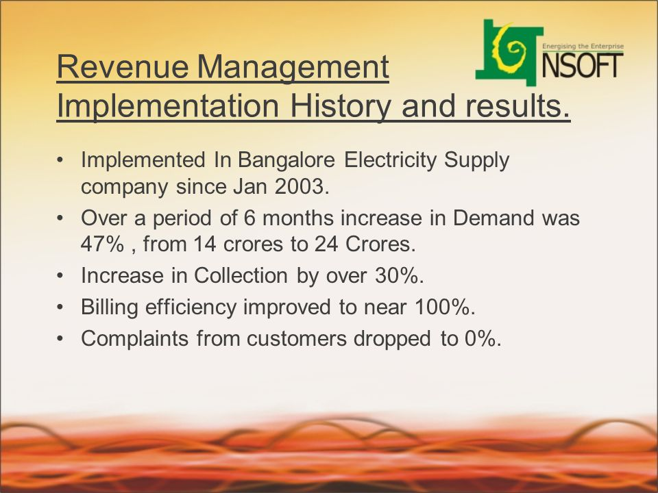 Revenue Management Implementation History and results.