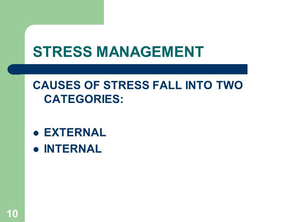 STRESS MANAGEMENT CAUSES OF STRESS FALL INTO TWO CATEGORIES: EXTERNAL