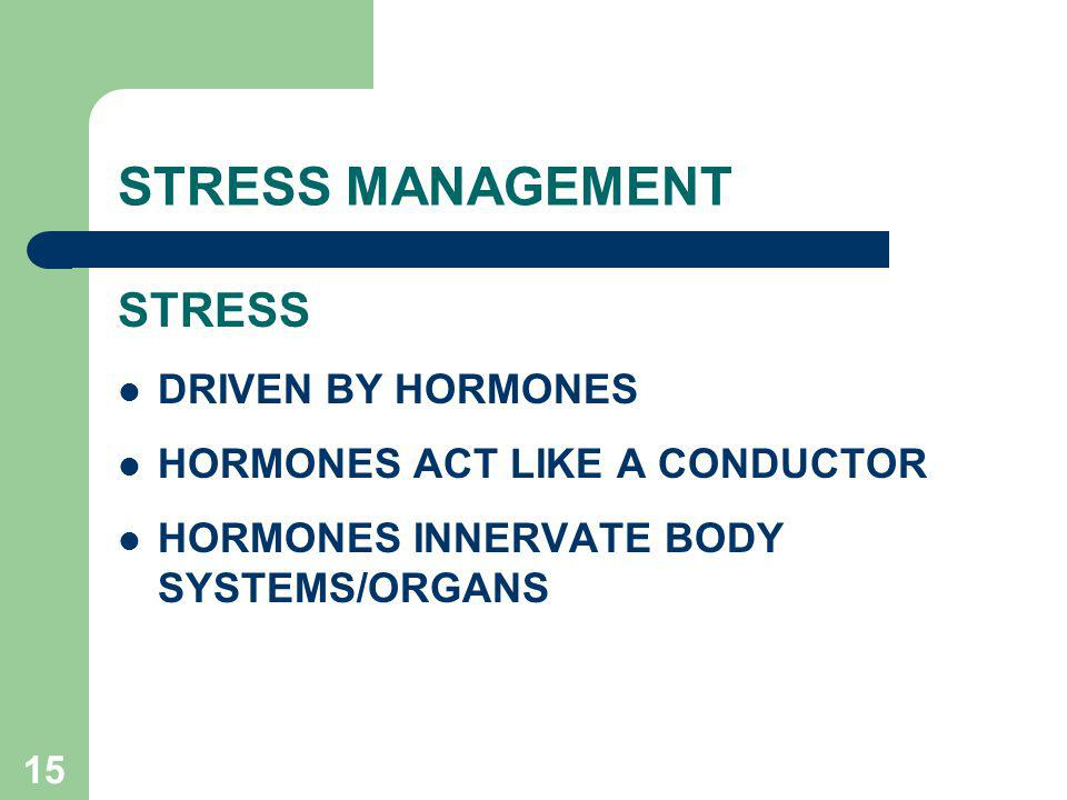STRESS MANAGEMENT STRESS DRIVEN BY HORMONES