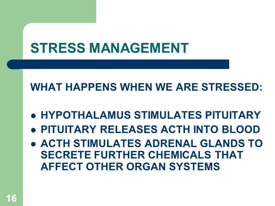 STRESS MANAGEMENT WHAT HAPPENS WHEN WE ARE STRESSED: