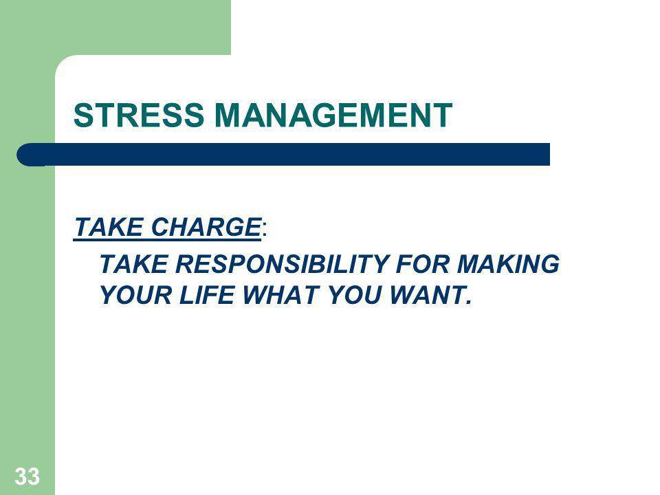 STRESS MANAGEMENT TAKE CHARGE:
