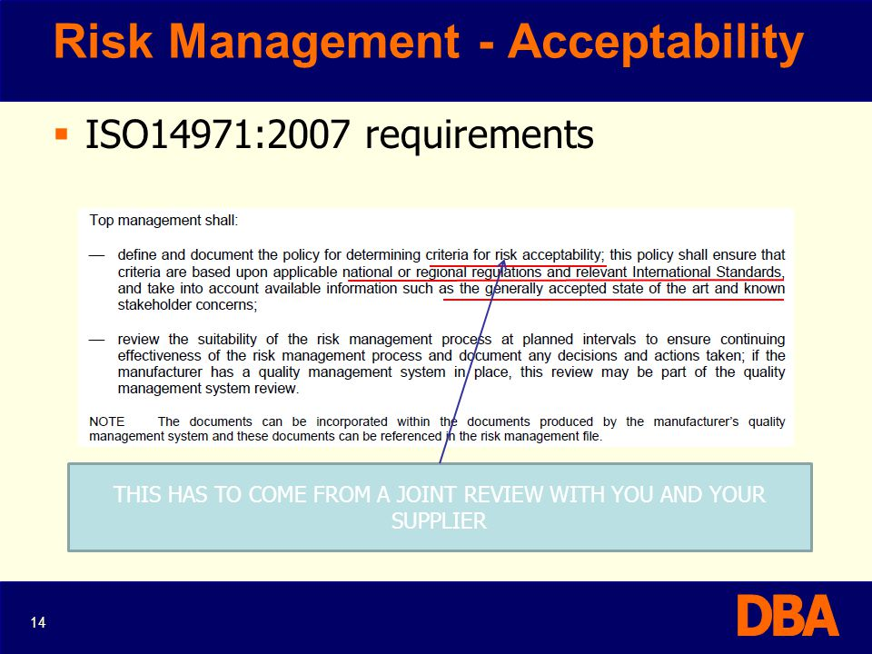 Risk Management - Acceptability