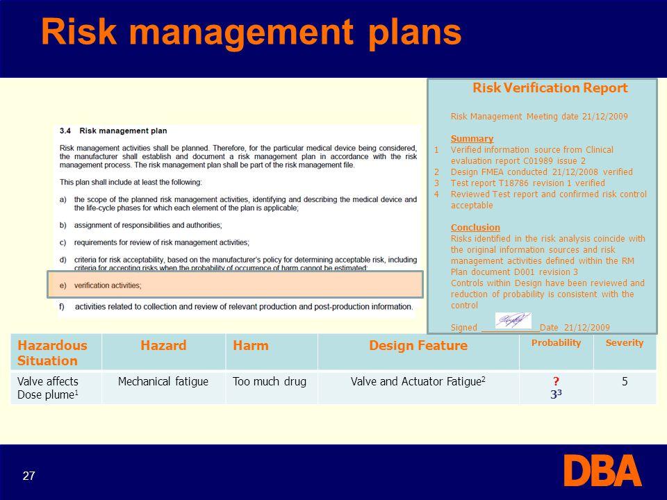 Risk management plans Hazardous Situation Hazard Harm Design Feature