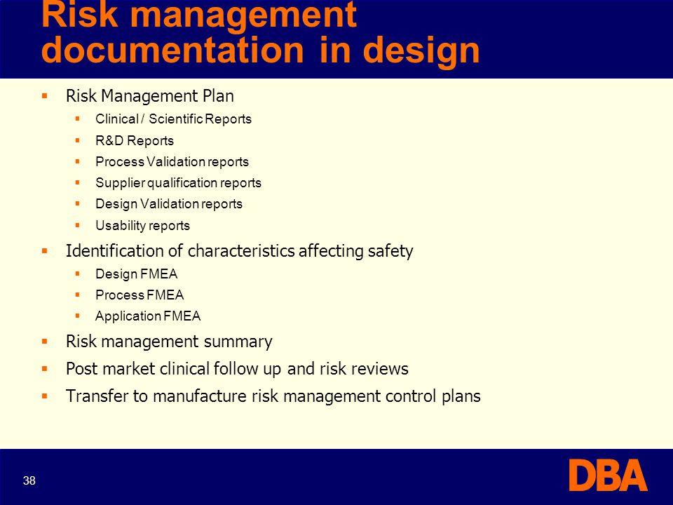 Risk management documentation in design