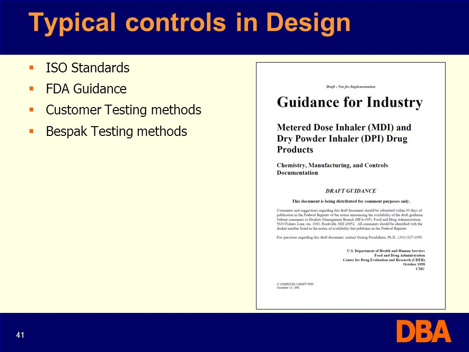 Typical controls in Design