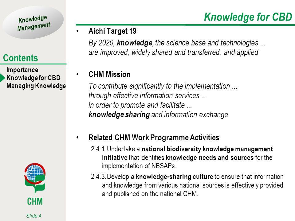 Knowledge for CBD Aichi Target 19