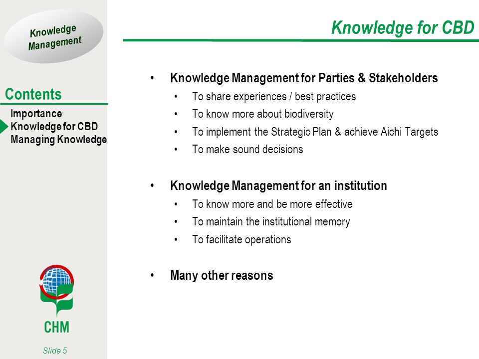 Knowledge for CBD Knowledge Management for Parties & Stakeholders