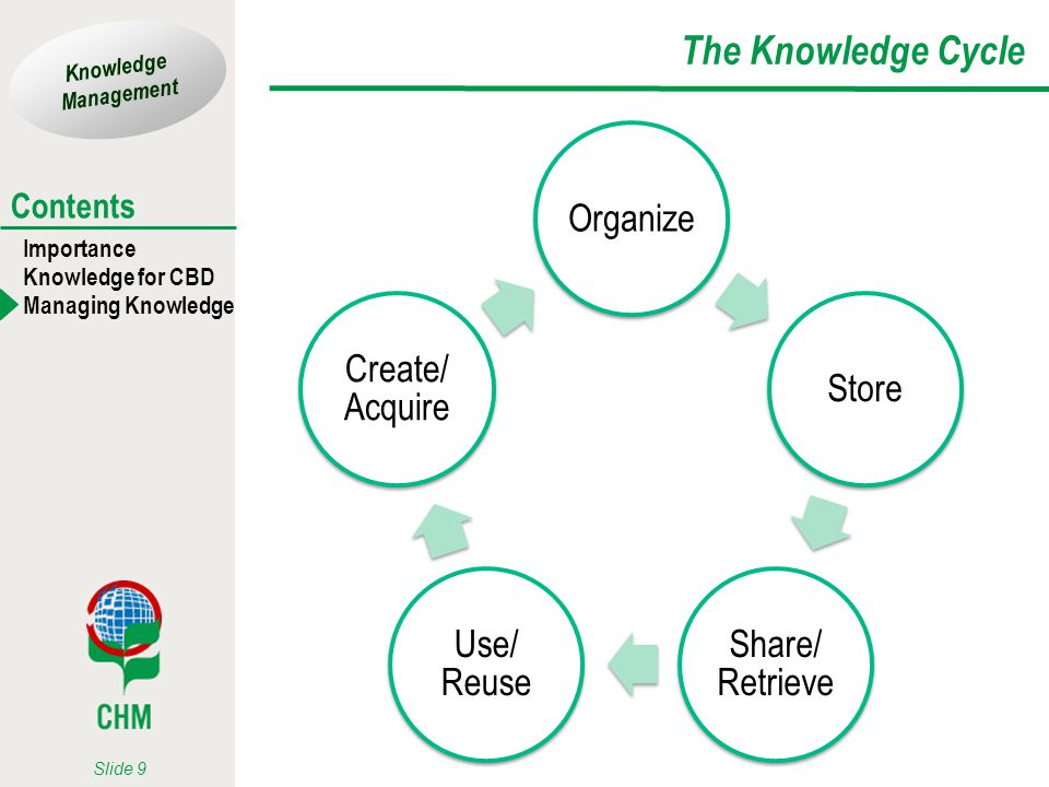 The Knowledge Cycle Organize Store Share/ Retrieve Use/ Reuse