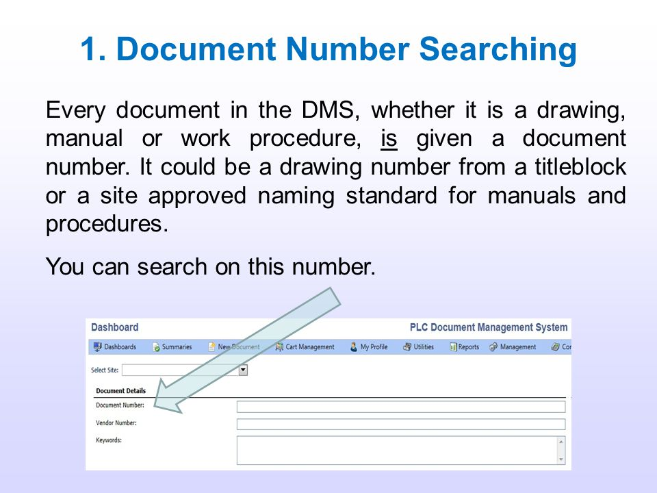 1. Document Number Searching