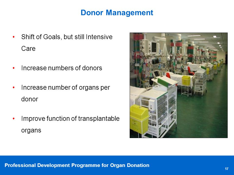 Donor Management Shift of Goals, but still Intensive Care. Increase numbers of donors. Increase number of organs per donor.