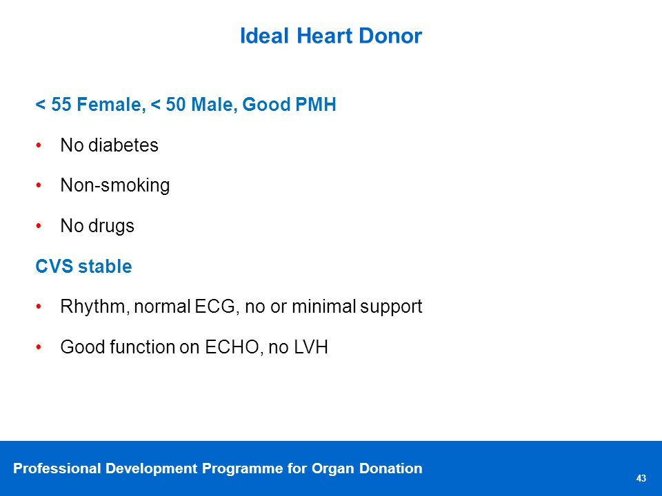 (Talk to components of ideal donor)