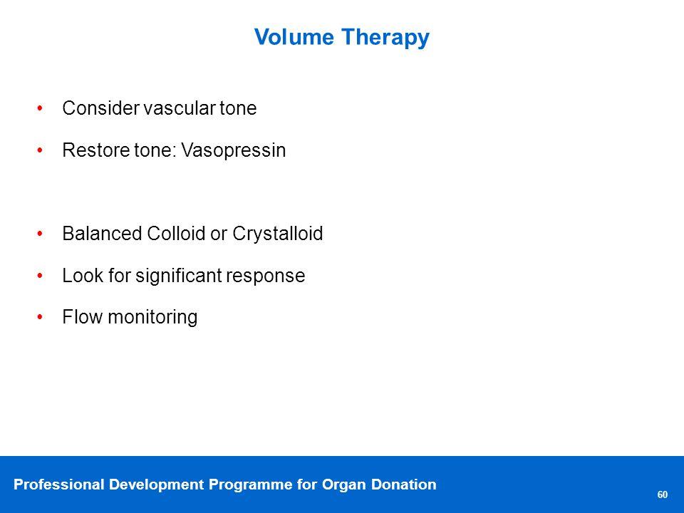 Volume Therapy Consider vascular tone Restore tone: Vasopressin