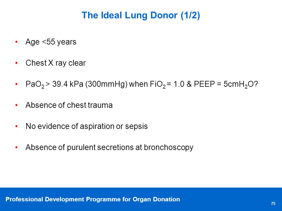 The Ideal Lung Donor (1/2)