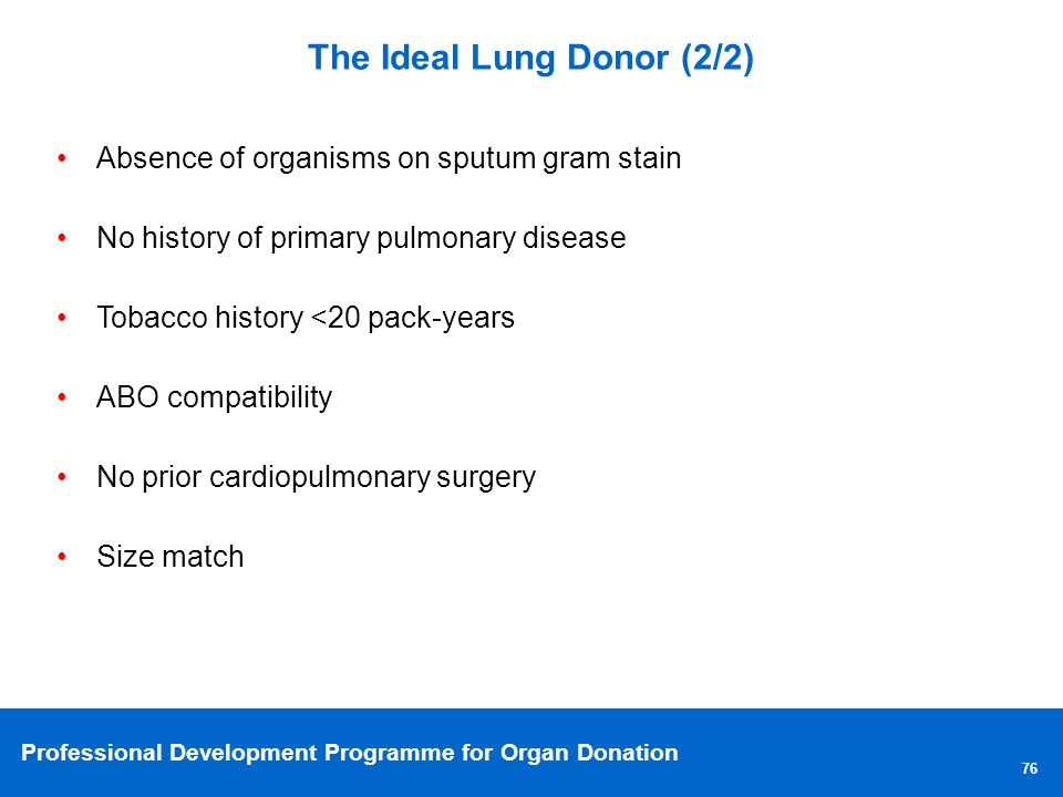 The Ideal Lung Donor (2/2)