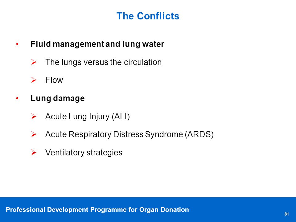 The Conflicts Fluid management and lung water