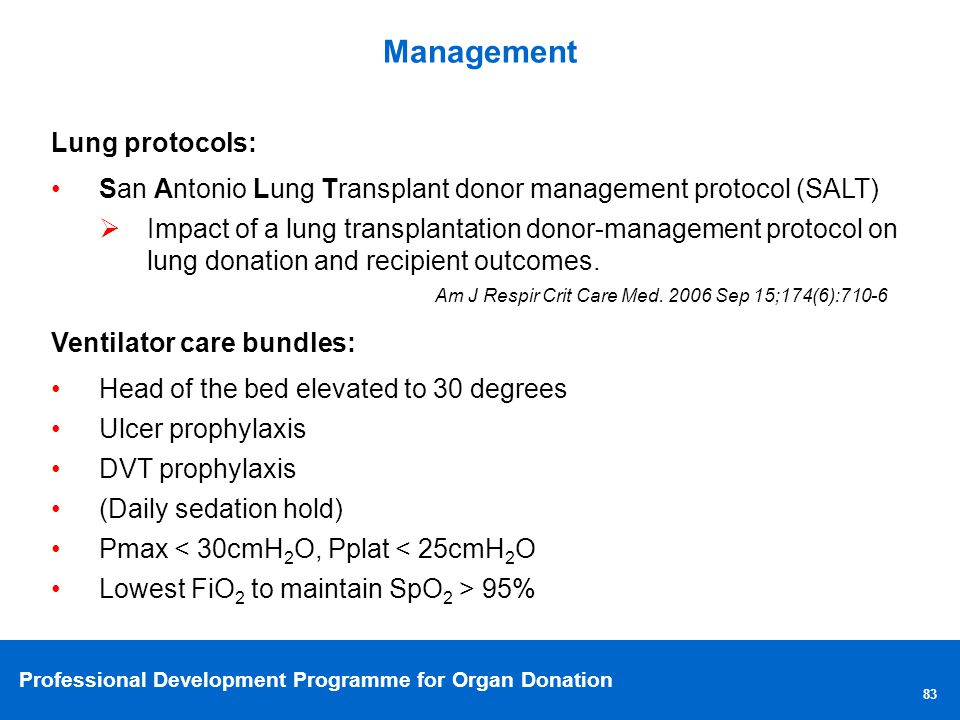 Management Lung protocols: