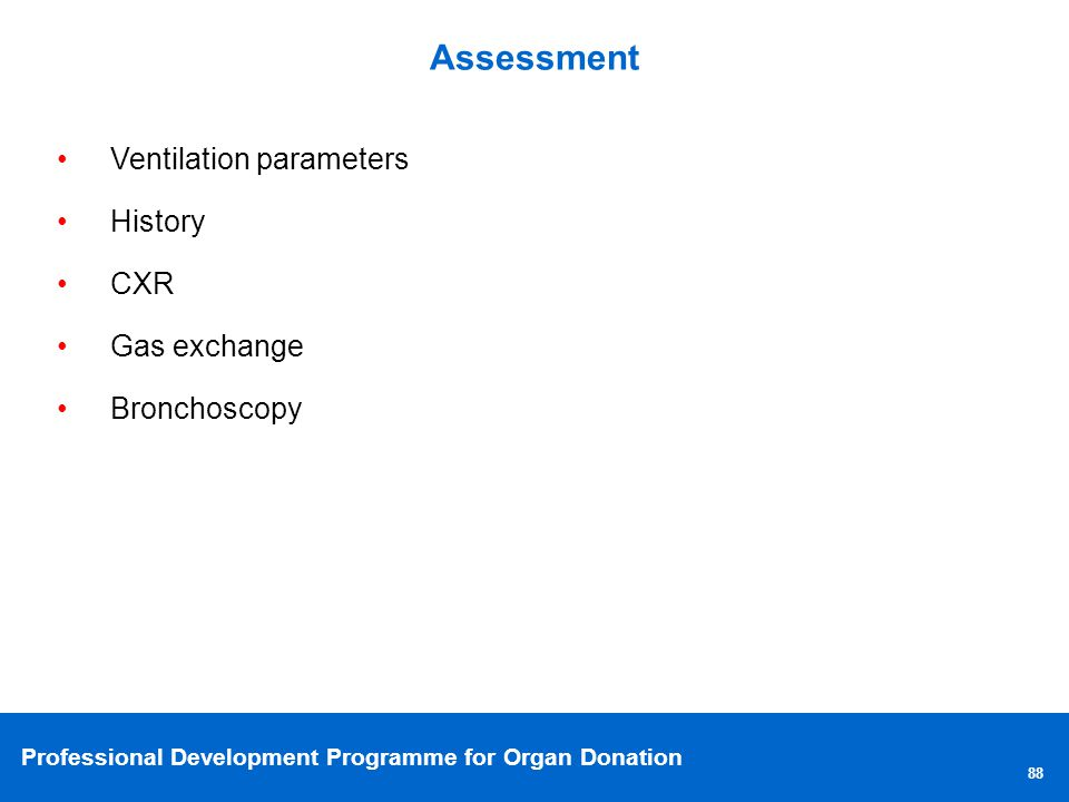 Assessment Ventilation parameters History CXR Gas exchange