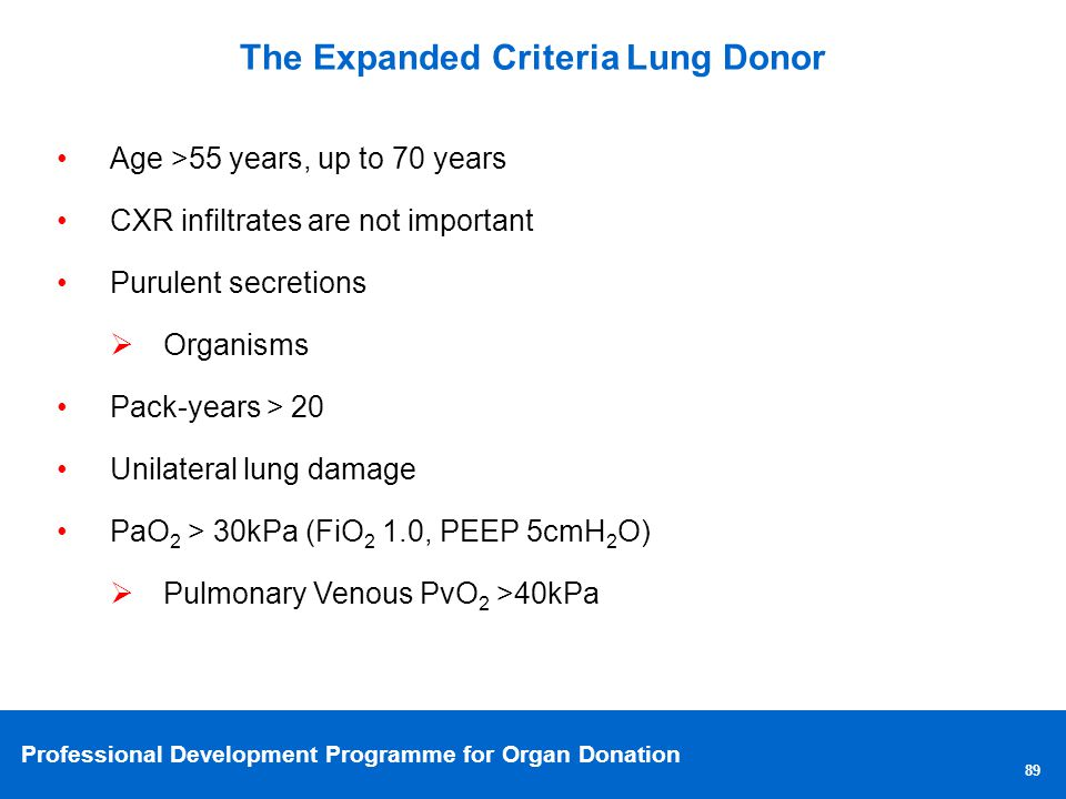 The Expanded Criteria Lung Donor