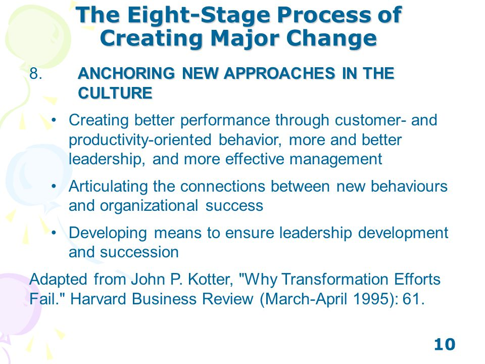 The Eight-Stage Process of Creating Major Change