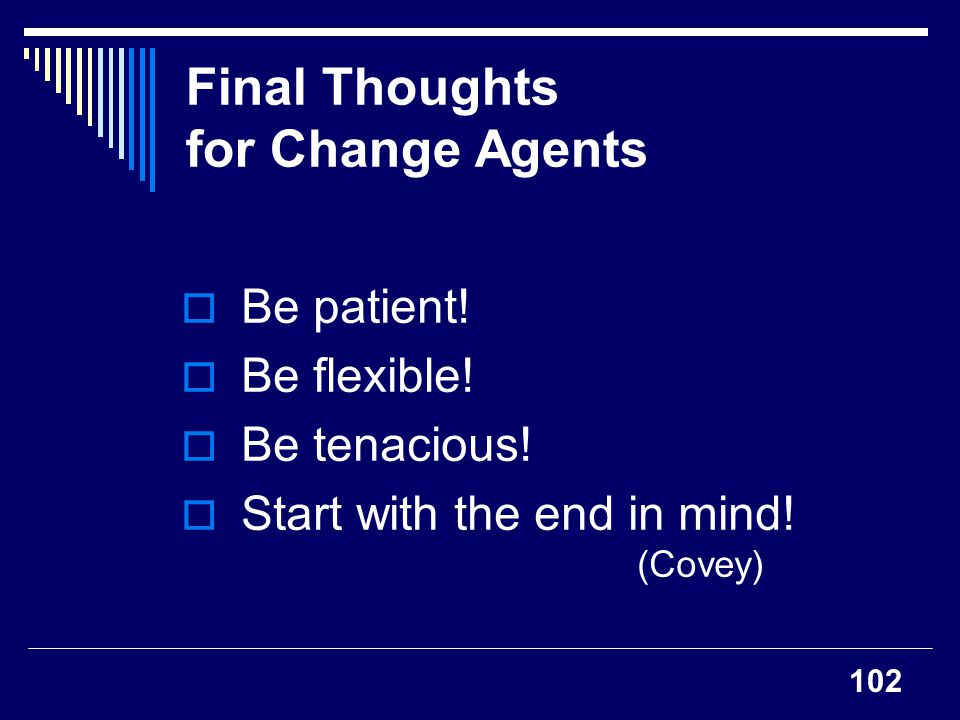 Final Thoughts for Change Agents