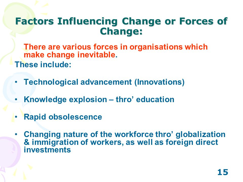 Factors Influencing Change or Forces of Change: