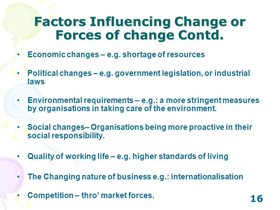 Factors Influencing Change or Forces of change Contd.