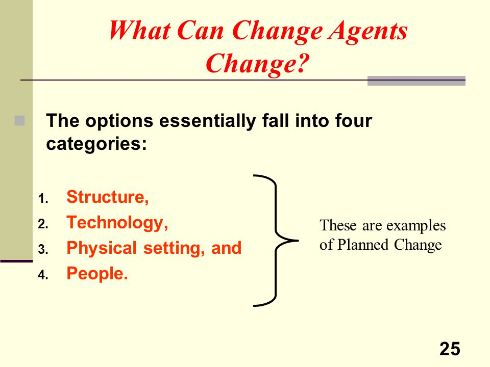 What Can Change Agents Change