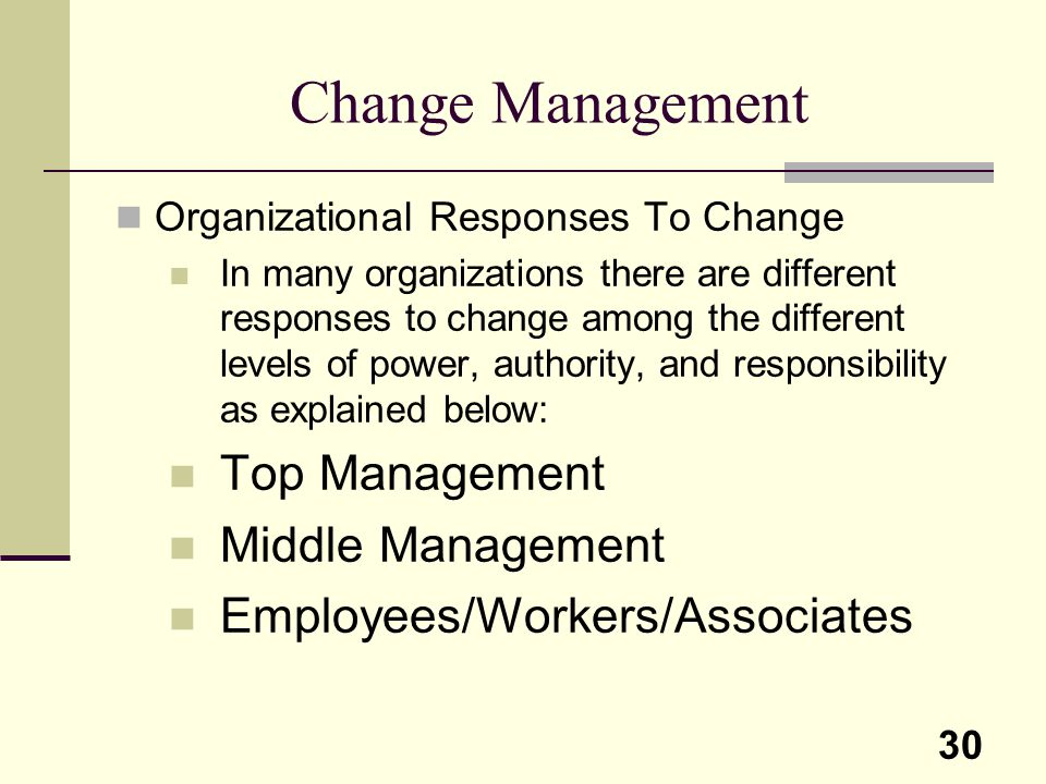 Change Management Top Management Middle Management