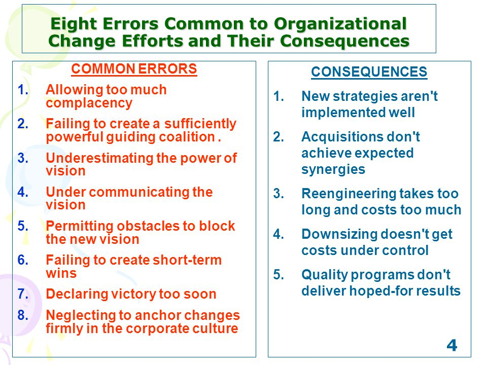 Eight Errors Common to Organizational Change Efforts and Their Consequences