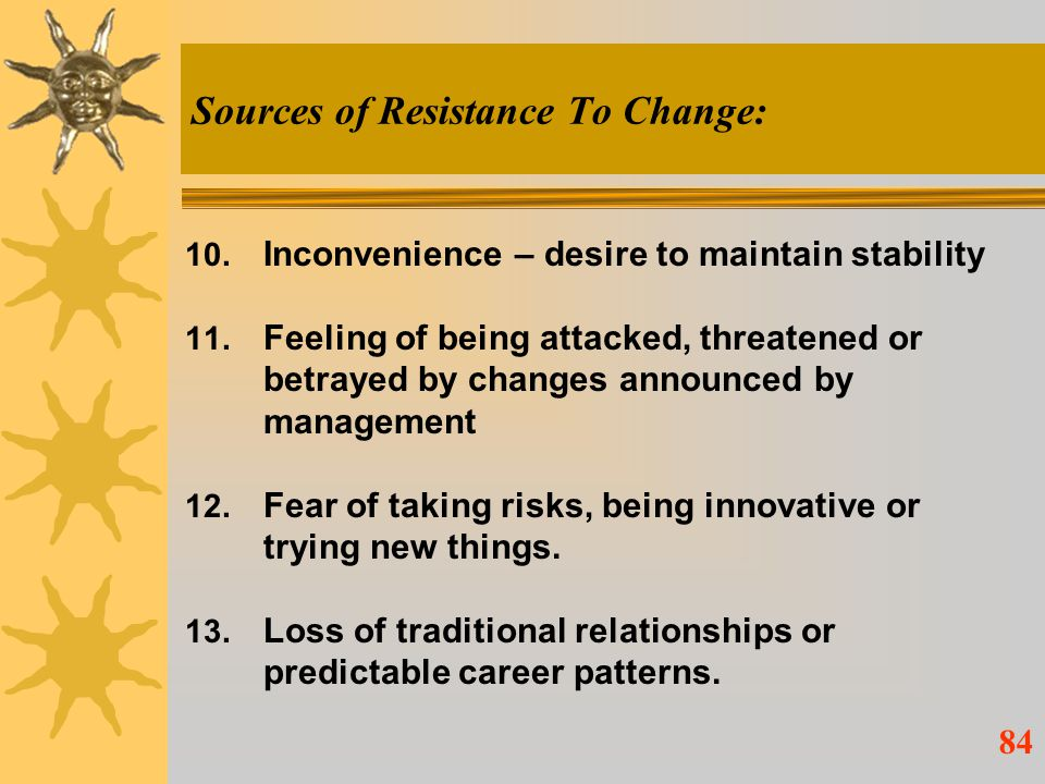 Sources of Resistance To Change: