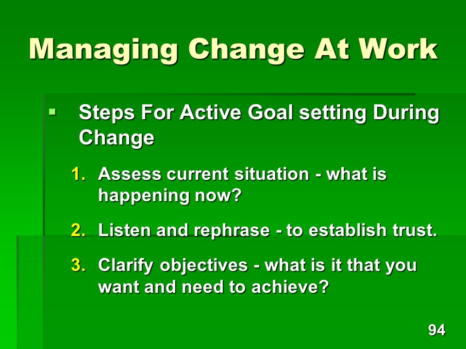 Managing Change At Work