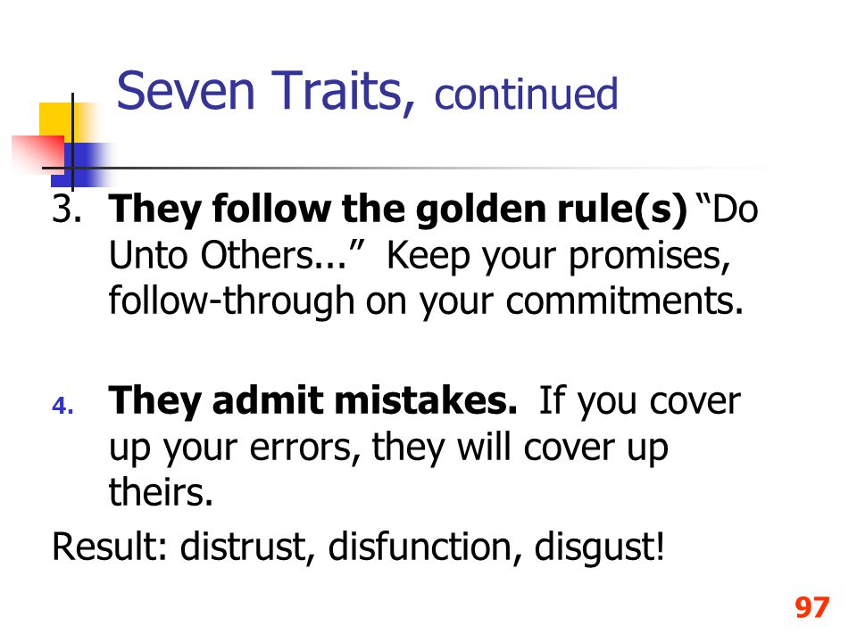 Seven Traits, continued